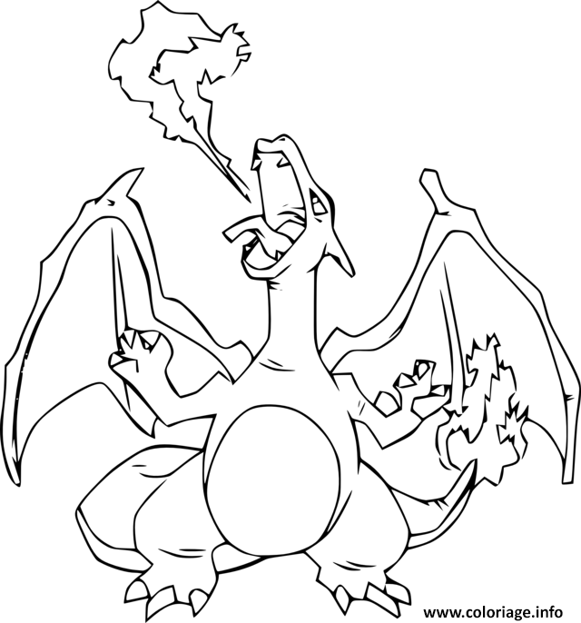 Coloriage Dracaufeu Ex Pokemon Dessin à Imprimer Dessin
