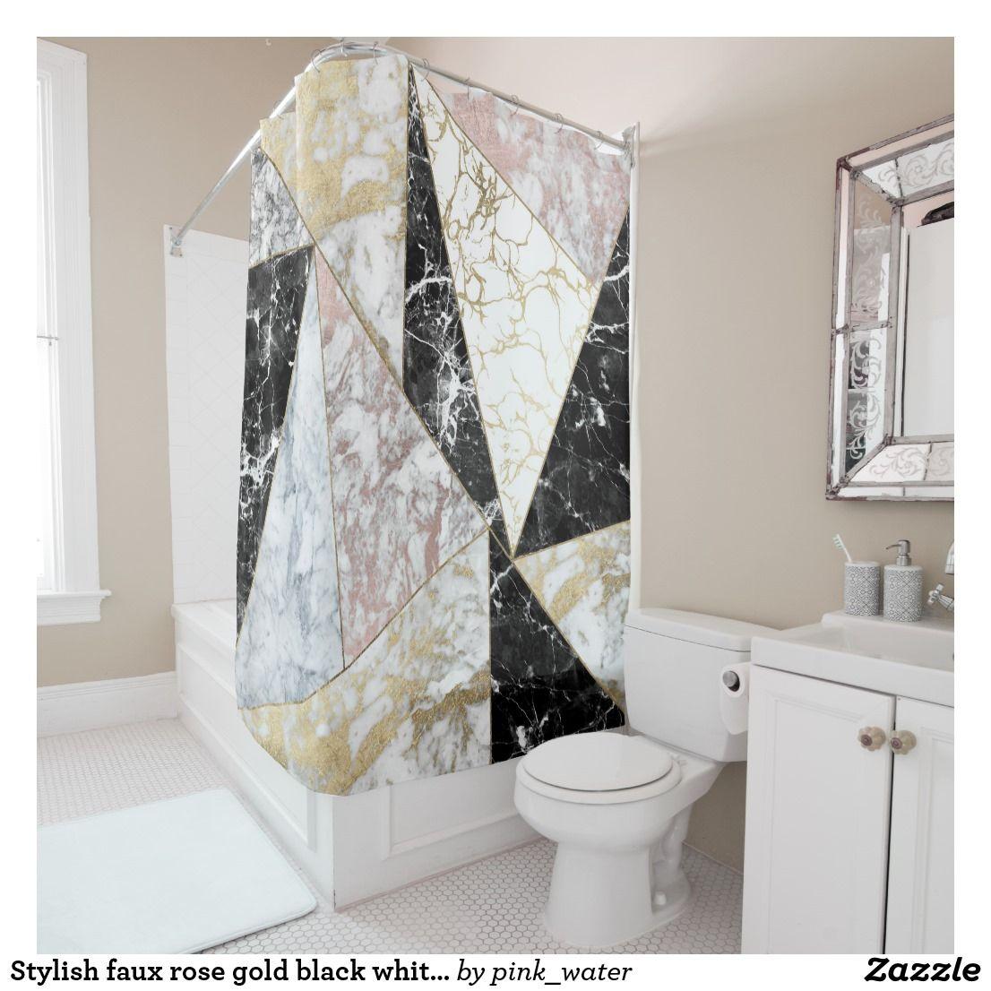 Stylish Faux Rose Gold Black White Luxury Marble Shower Curtain Zazzle Com Gold Shower Curtain Rose Gold Shower Curtain Marble Showers