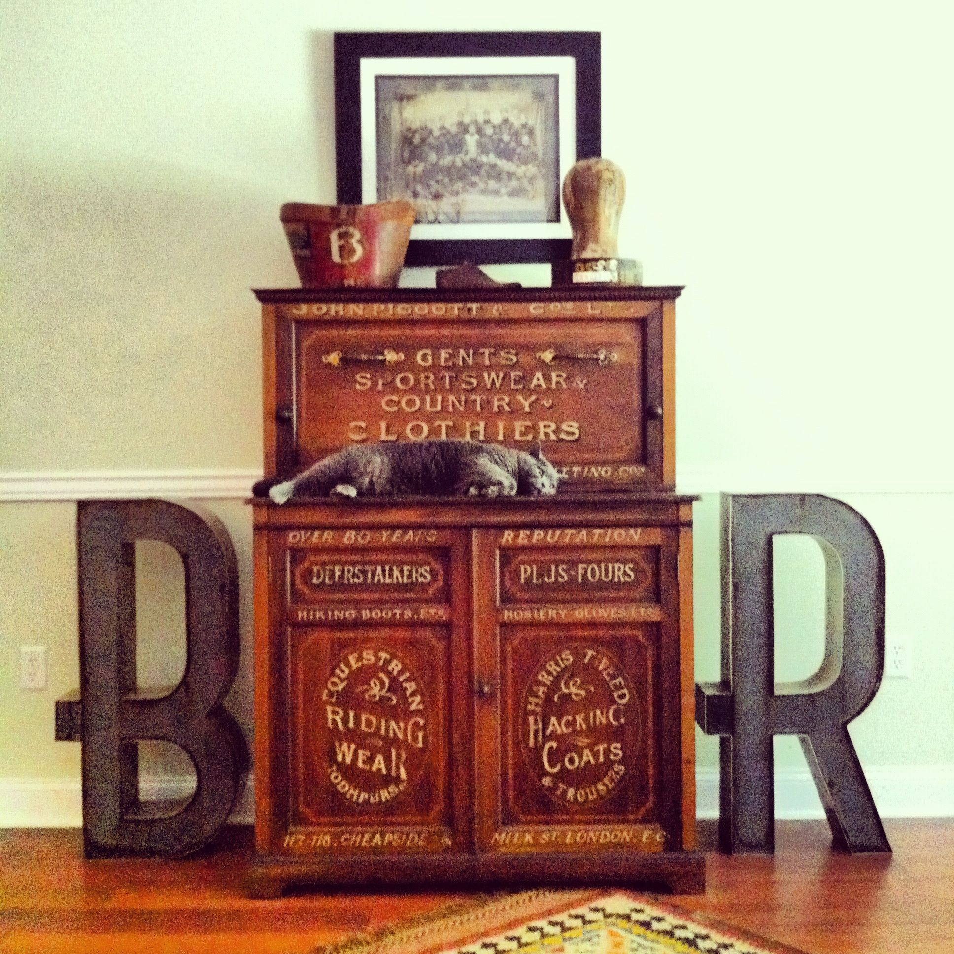 Salvaged Business Signage Letters (In My And Rosas Initials) Bookend
