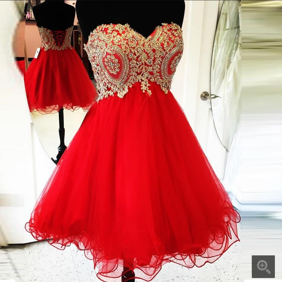 New Arrival Red Tulle A Line Short Prom Dress Strapless Lace Appliques Beaded Prom Gowns Prom Dresses Red Homecoming Dresses Short Red Homecoming Dresses Red Quinceanera Dresses [ 953 x 952 Pixel ]