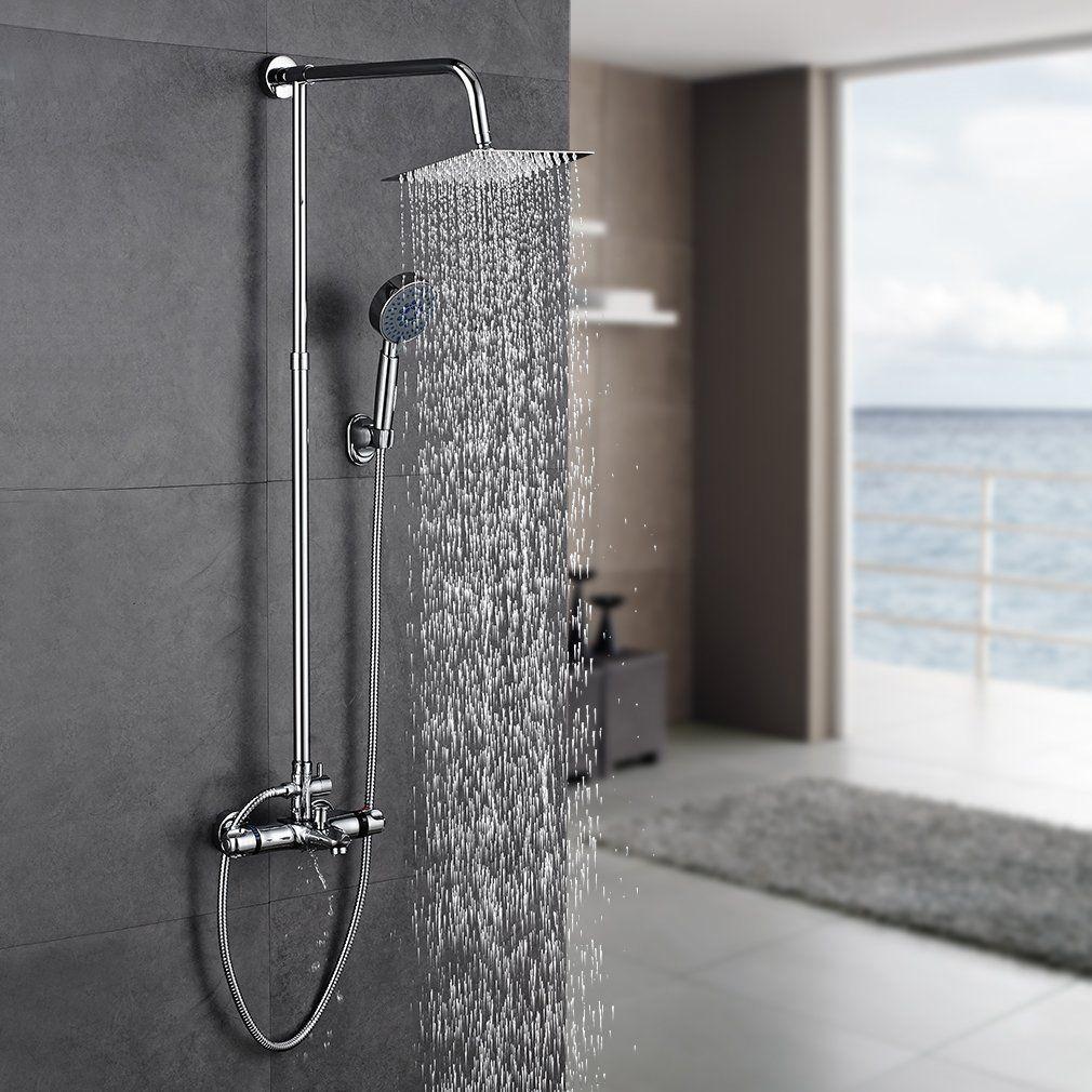 Auralum Bathroom Rainfall Wall Mounted With Handheld Shower Head Faucet Set Mixer Amazon Co Uk Kitchen H Handheld Shower Head Hand Held Shower Shower Heads