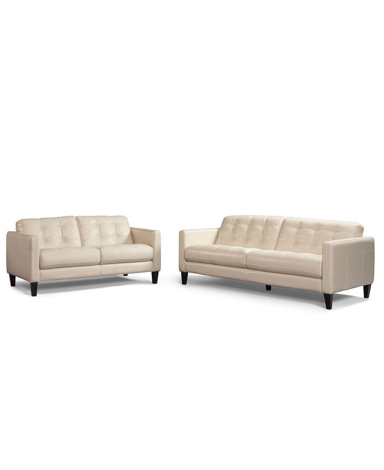 Milan 2 Piece Leather Sofa Set: Sofa And Love Seat   Furniture   Macyu0027s