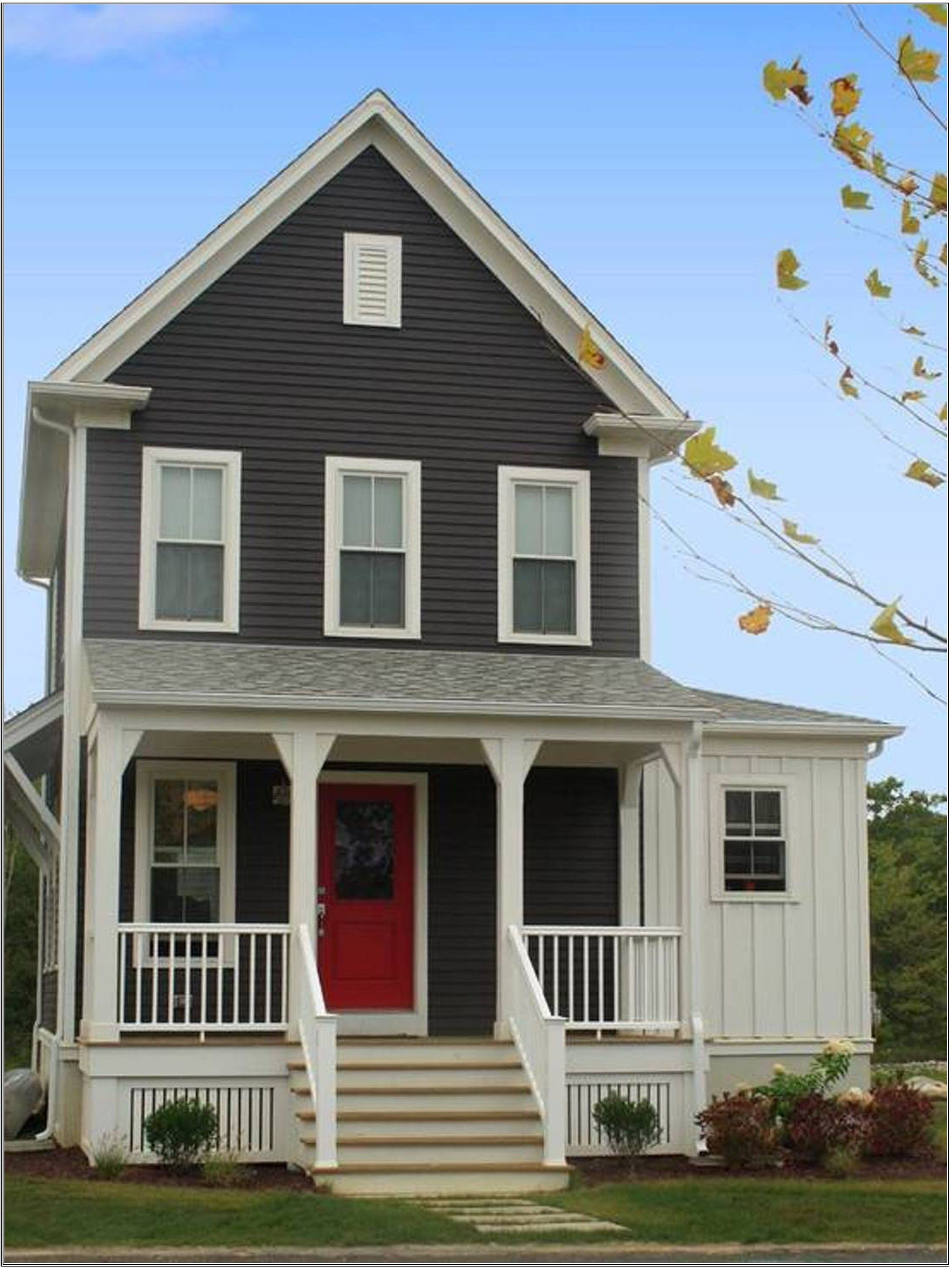 Superieur Delightful Gray House Exterior Paint Idea With White Window Frames Red Door  And White Balustrade Beautiful House Exterior Paint Ideas