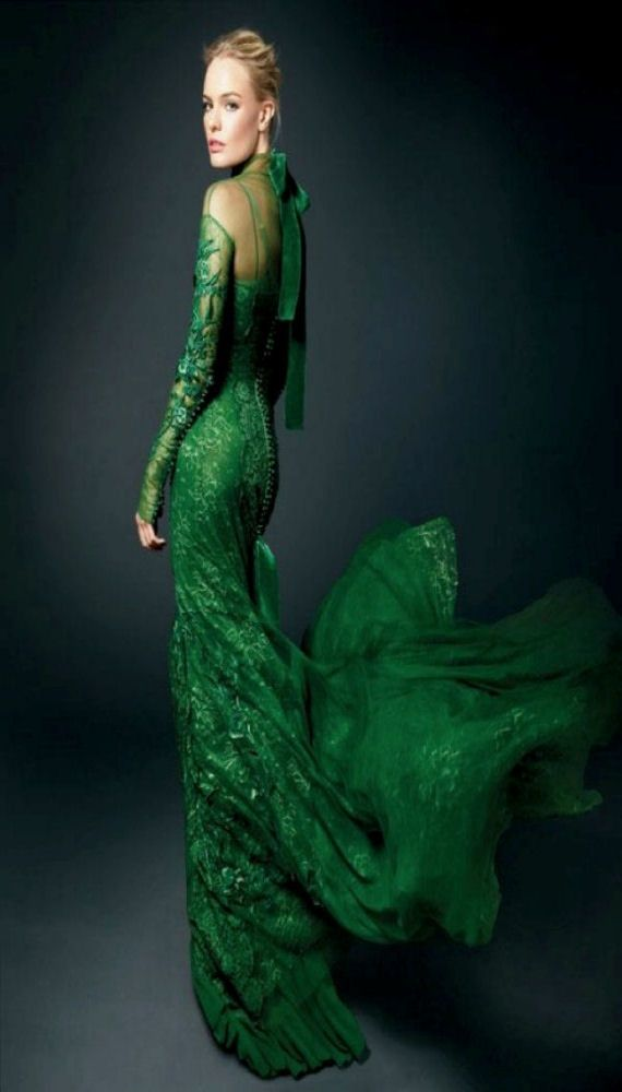 Tom Ford green gown | GORGEOUS GREEN! Kate Bosworth in Tom Ford embroidered silk satin gown ...