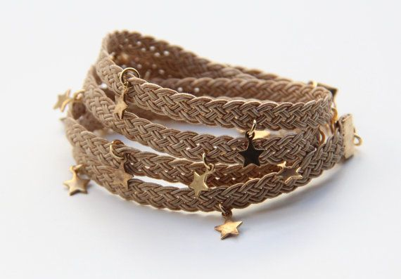 Braid Caramel wrap Bracelet  Stars charms twisted by TheUrbanLady, $13.99