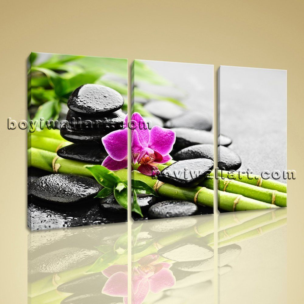 Large zen orchid and stones feng shui contemporary canvas wall art