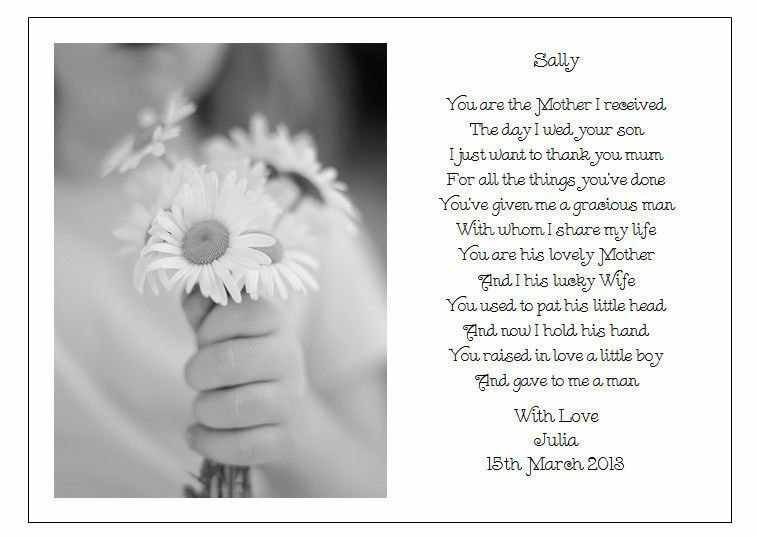 Personalised Wedding Day Poem Gift To The New Mother In Law Of Bride