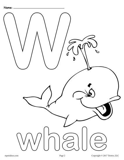 Letter W Alphabet Coloring Pages   Free Printable Versions