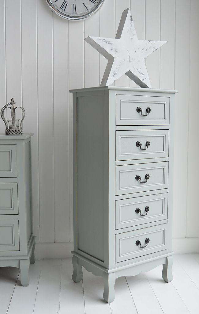 Berkeley Tall Narrow Chest Of 5 Drawers Grey Painted