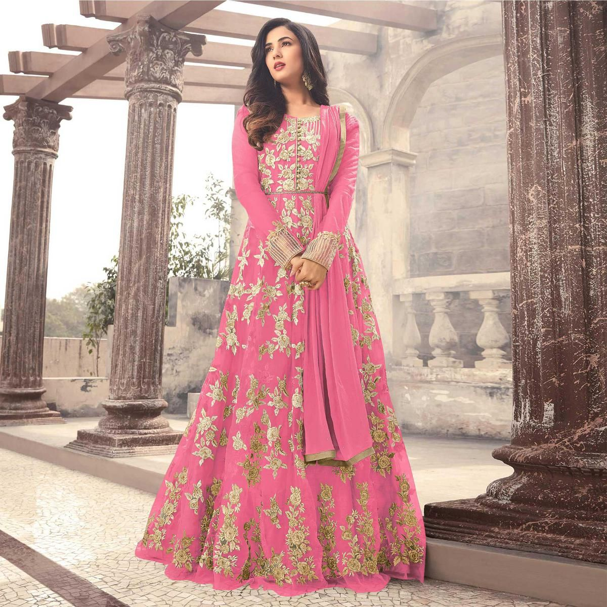 896eef6106 Buy Elegant Pink Colored Designer Embroidered Partywear Net Abaya Style Anarkali  Suit Online India, Best Prices, Reviews - Peachmode