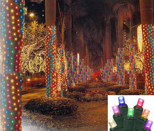 2\u0027 x 8\u0027 Multi LED Christmas Net Style Tree Trunk Wrap Lights - Green