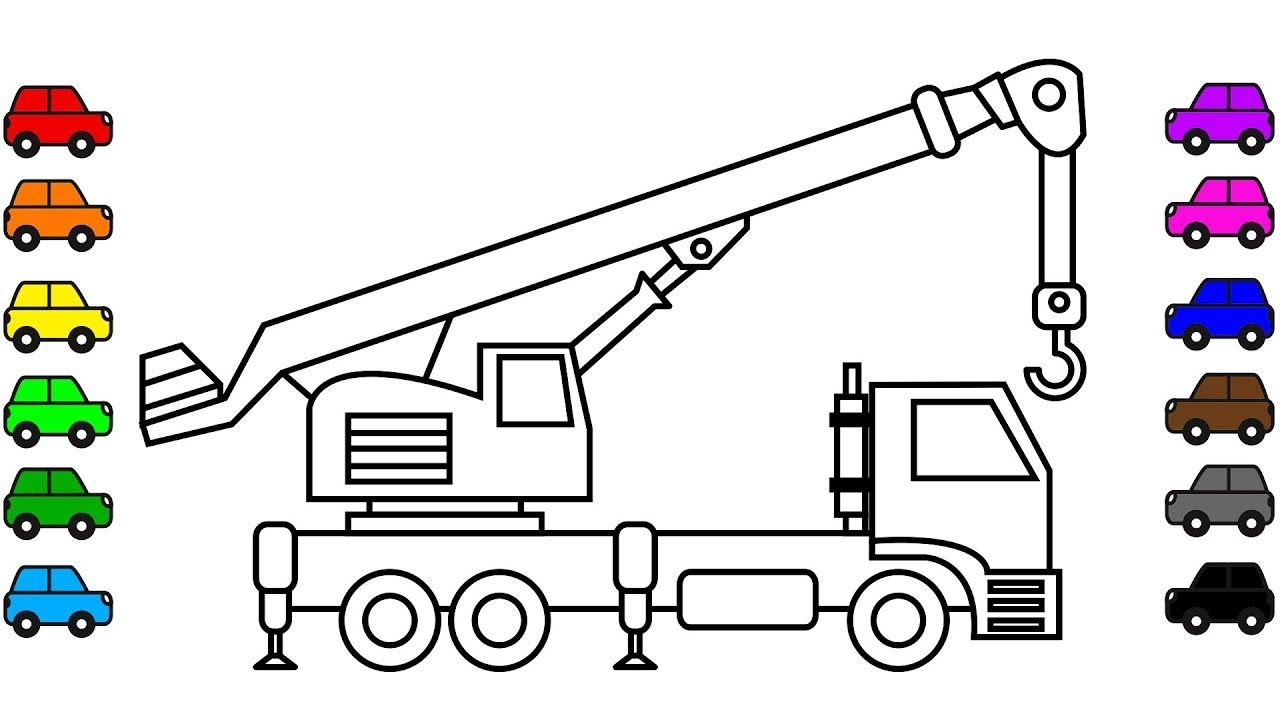 Crane Truck Coloring Book Video Construction Truck Vehicles