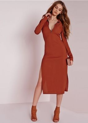 Red Contracted Plunge Neck Slit Side Bodycon Dress
