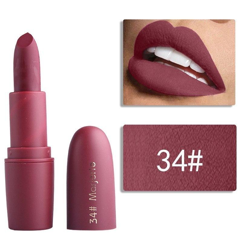 Hot MISS ROSE Makeup Nude Velvet Lipstick Matte Batom Long