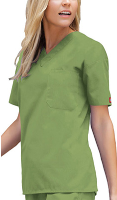 This #scrubtop has a roomy fit. Color here: Desert Sage. Everyday Scrubs by Dickies Unisex V-Neck Solid Scrub Top.