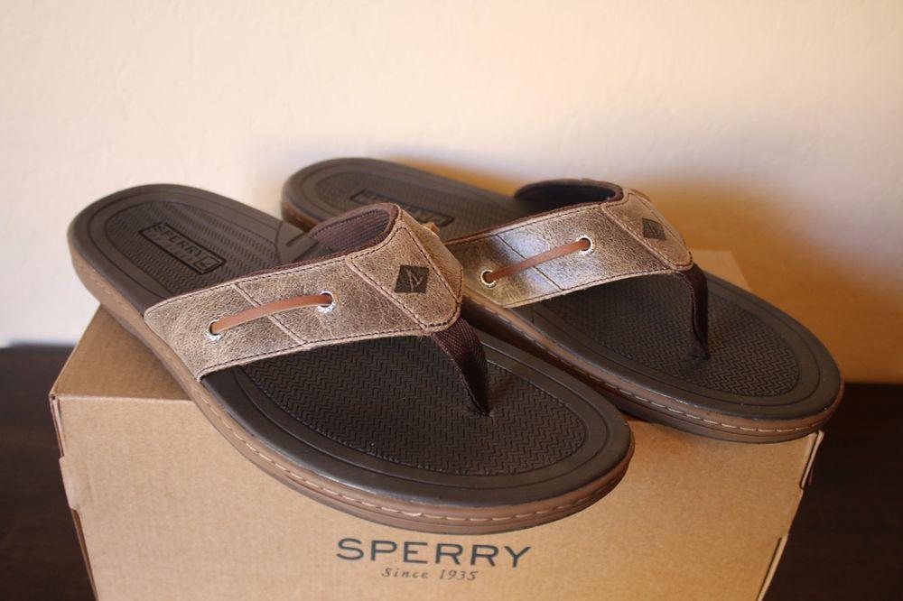 a8e64511196 Sperry Top Sider Men s Thong Sandal Flip Flop - Baitfish - Brown - Size 12  - NEW  SperryTopSider  Thong