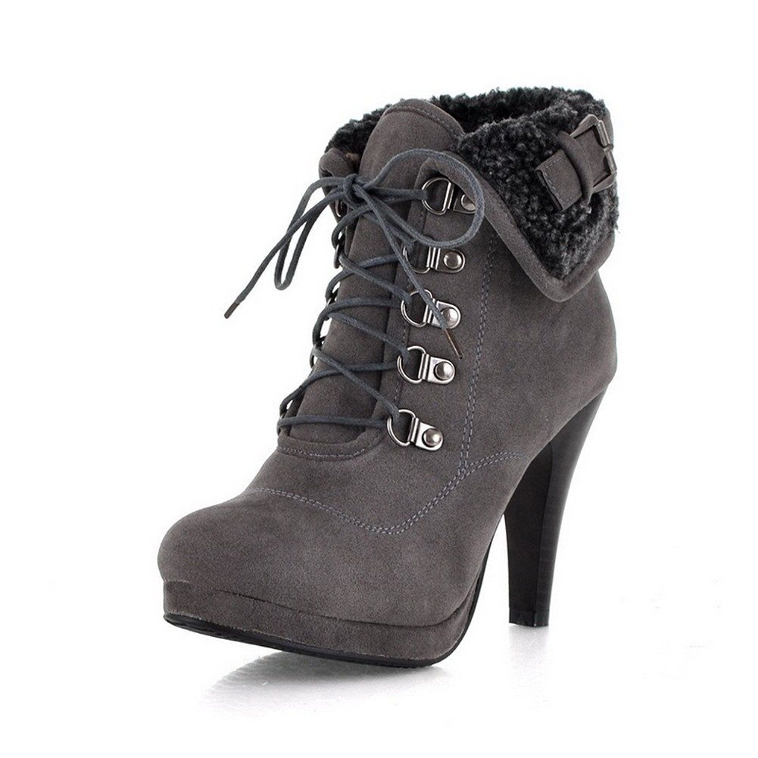 Women's Frosted Lace Up Round Closed Toe High Heels Solid Boots