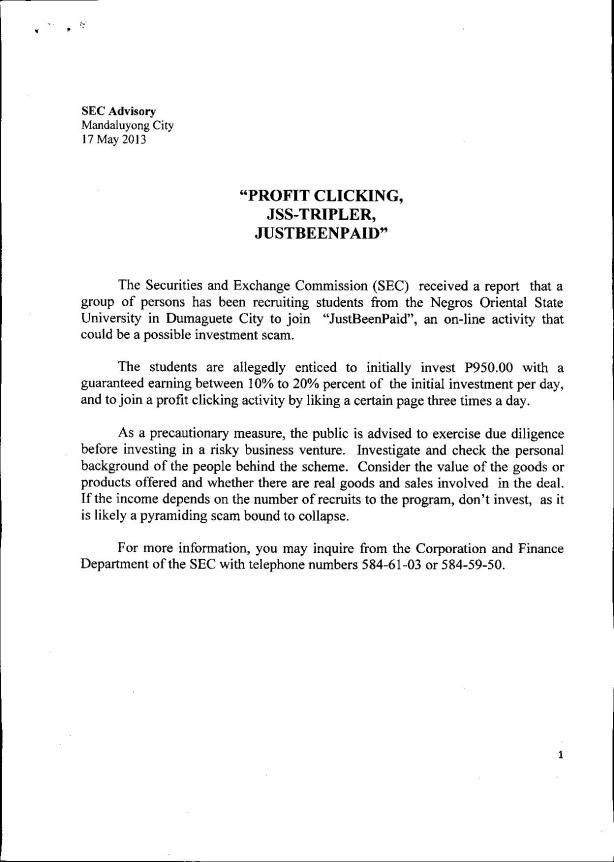 source   sec notices advisory profit clicking pdf how write