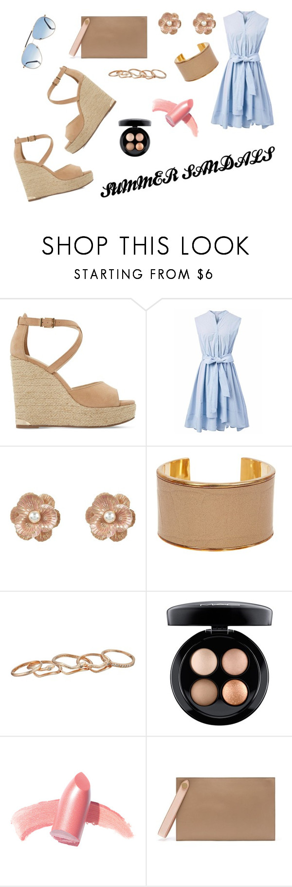 """""""Summer Sandals Contest Entry"""" by skylar-j-ramsay ❤ liked on Polyvore featuring Dune, Chicwish, New Look, BaubleBar, Kendra Scott, MAC Cosmetics, Elizabeth Arden, Mulberry, Tom Ford and contest"""