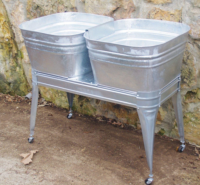 Twin Wash Tub With Stand And Drain Wash Tubs Wash Tub Sink Metal Wash Tub