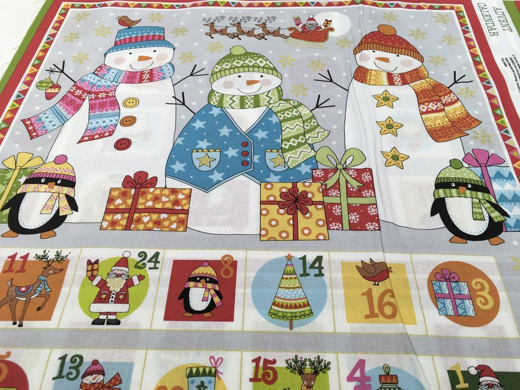 Festive Christmas Advent Calendar Fabric Panel Makower