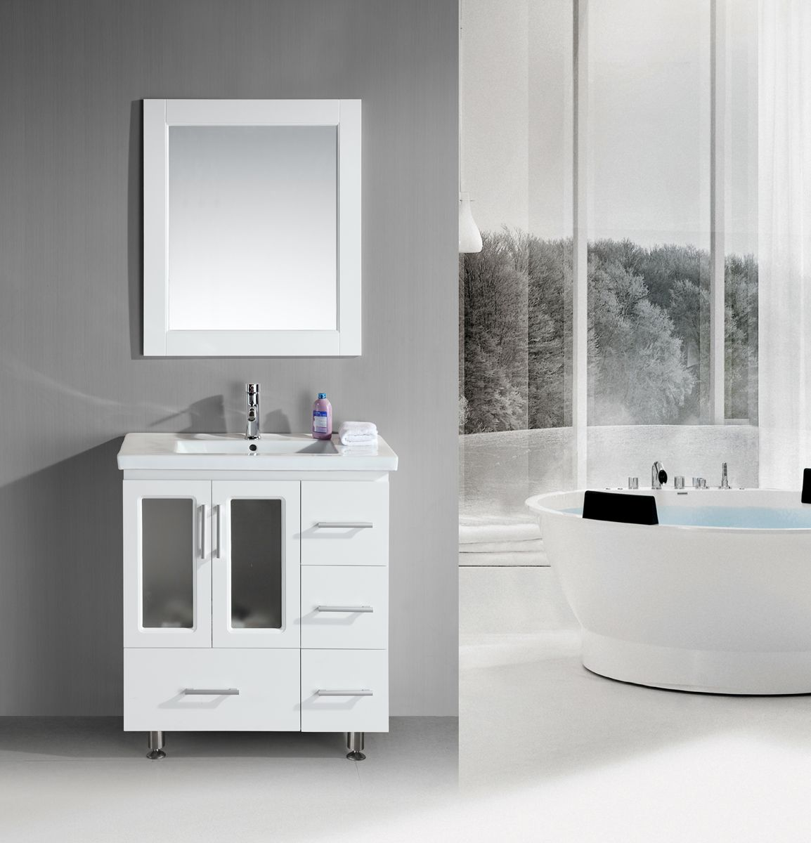 Superior 32 Inch Contemporary White Bathroom Vanity Set With Porcelain Sink Top.  This White Bathroom Vanity