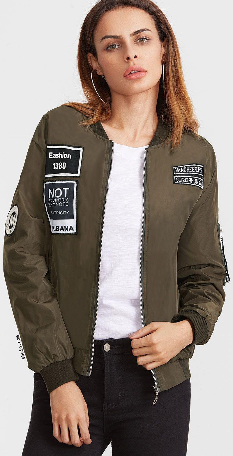 Embroidered Patch Zipper Flight Jacket Bomber Jacket Zipper Bomber Jackets [ 1565 x 800 Pixel ]