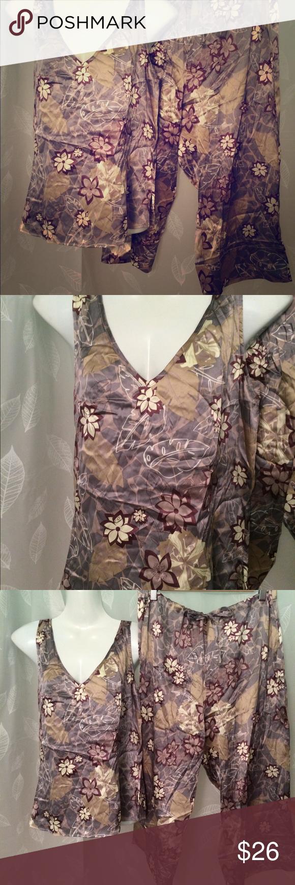 Tropical leaf print. Pale colors. Silk Spandex blend. Very good condition. cabela s  Intimates   Sleepwear Pajamas 88626b163