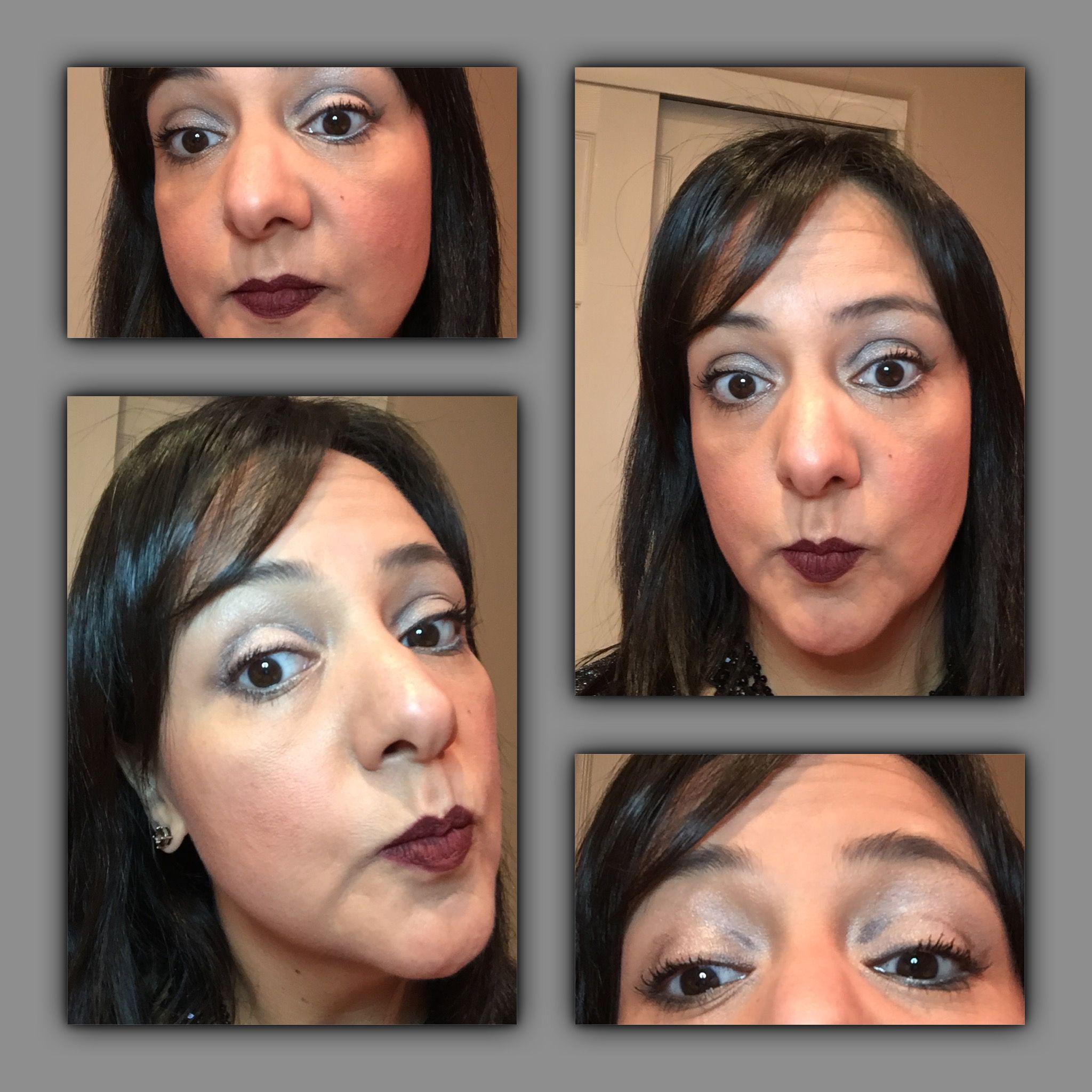 """Younique maquillaje líquido chiffon, younique primer glorious, younique sombra de ojos paleta #2 tonos grises, younique lipstick splash  """"stoic"""", younique delineador de ojos """"perfect"""" y """"polished"""""""