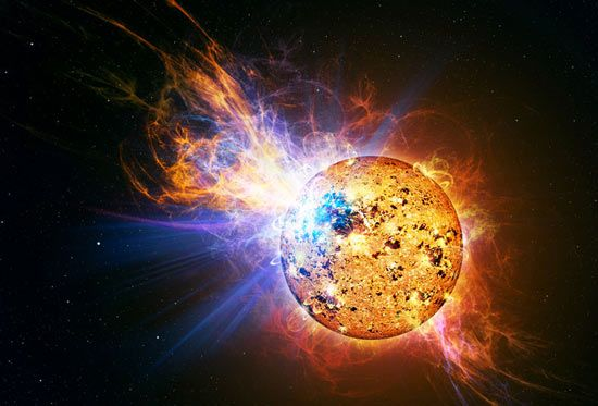 The red dwarf that roared