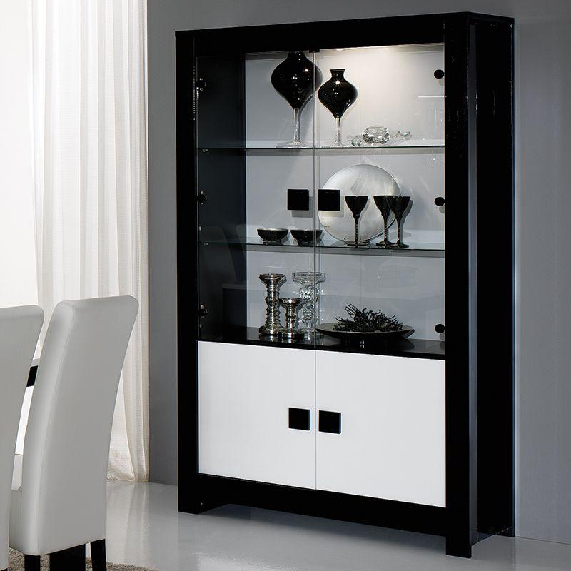 Vaisselier Noir Et Blanc Laque Design Siera Crockery