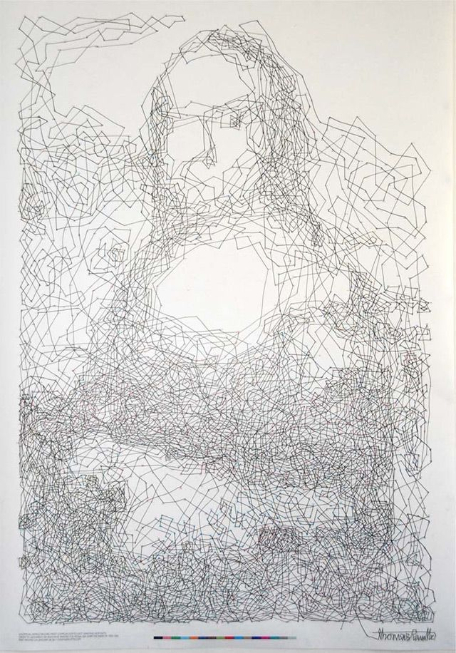 Thomas Pavitte wanted to create the most complex dot-to-dot drawing, so he made a 6,239 dot to dot Mona Lisa drawing. It took him 9 hours and 15 minutes to connect all the dots on the A0 poster.