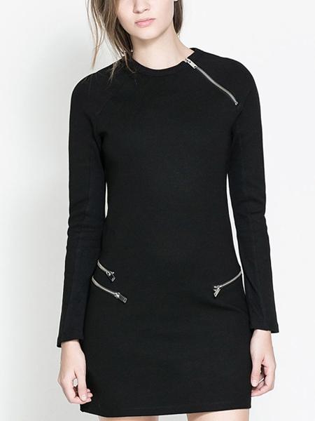 Simple Scoop Neck Asymmetrical Zip Natural Waist Pullover Dresses