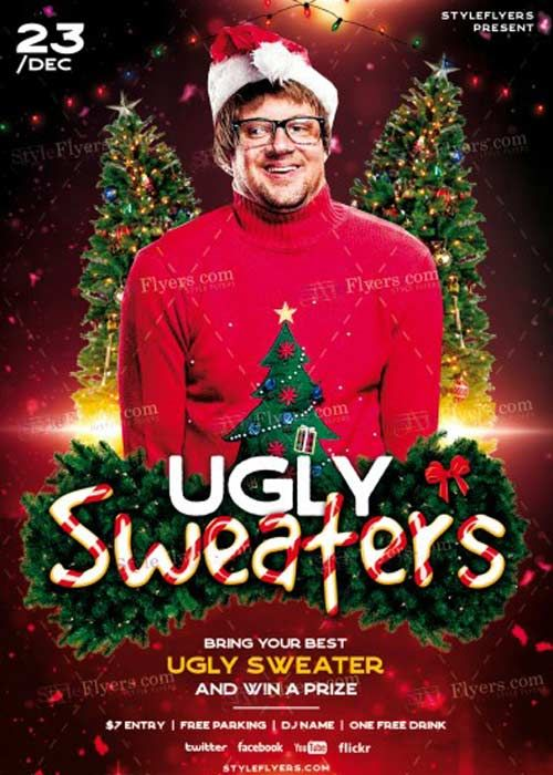 Ugly Sweaters V PSD Flyer Template Free Download Ugly - Ugly sweater flyer template free