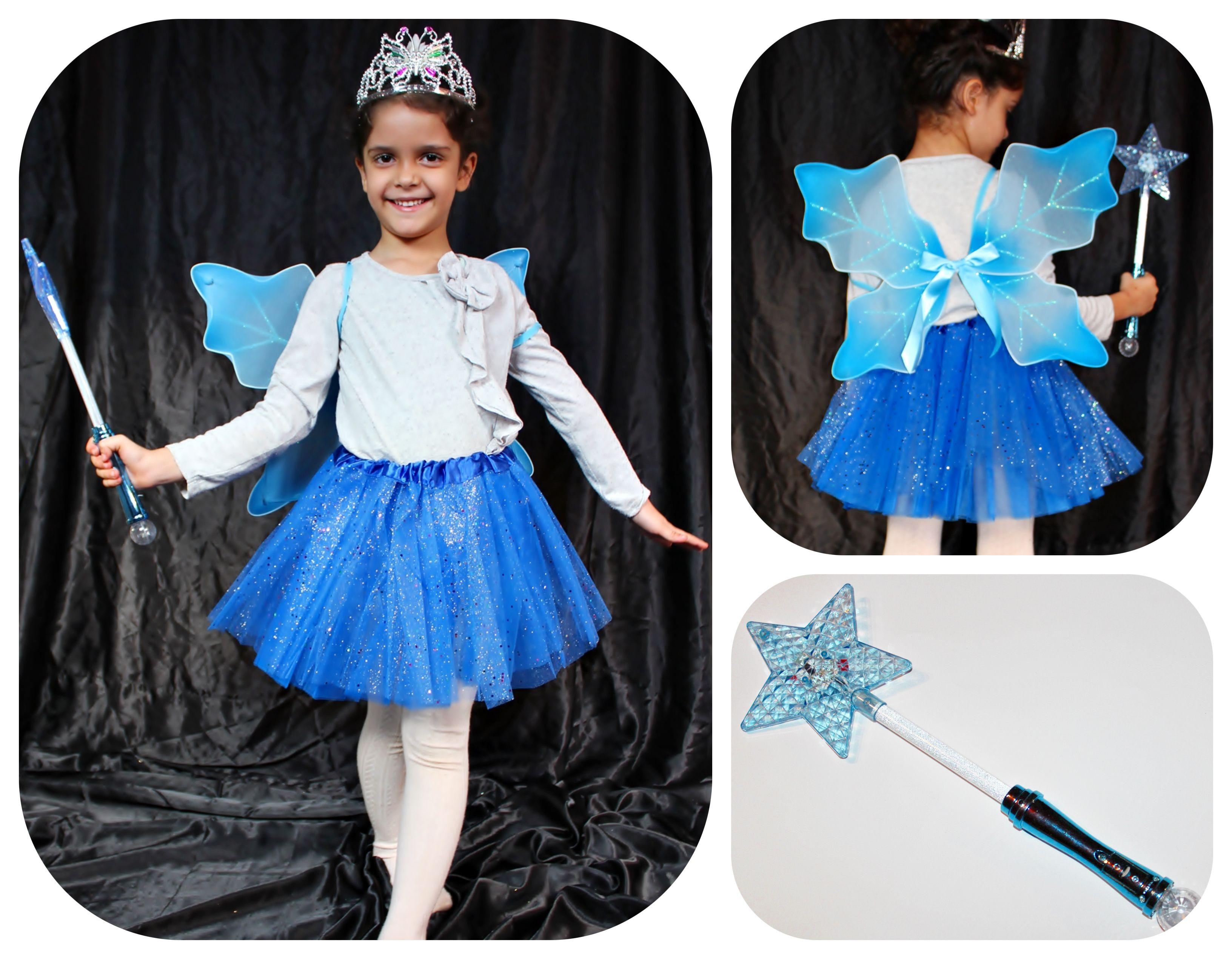 9b5d303c80 4 részes kék tündér jelmez: szoknya + tiara + világítós varázspálca +  szárny -színes