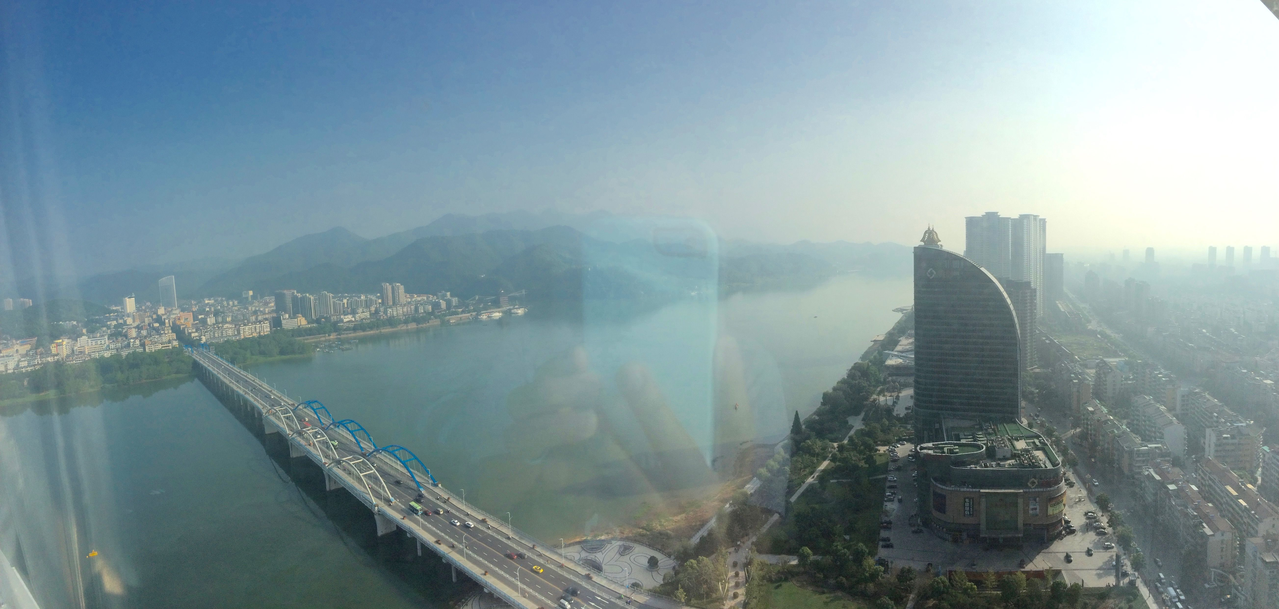 Pano-view from fancy hotel room window in Hangzhou, China ...
