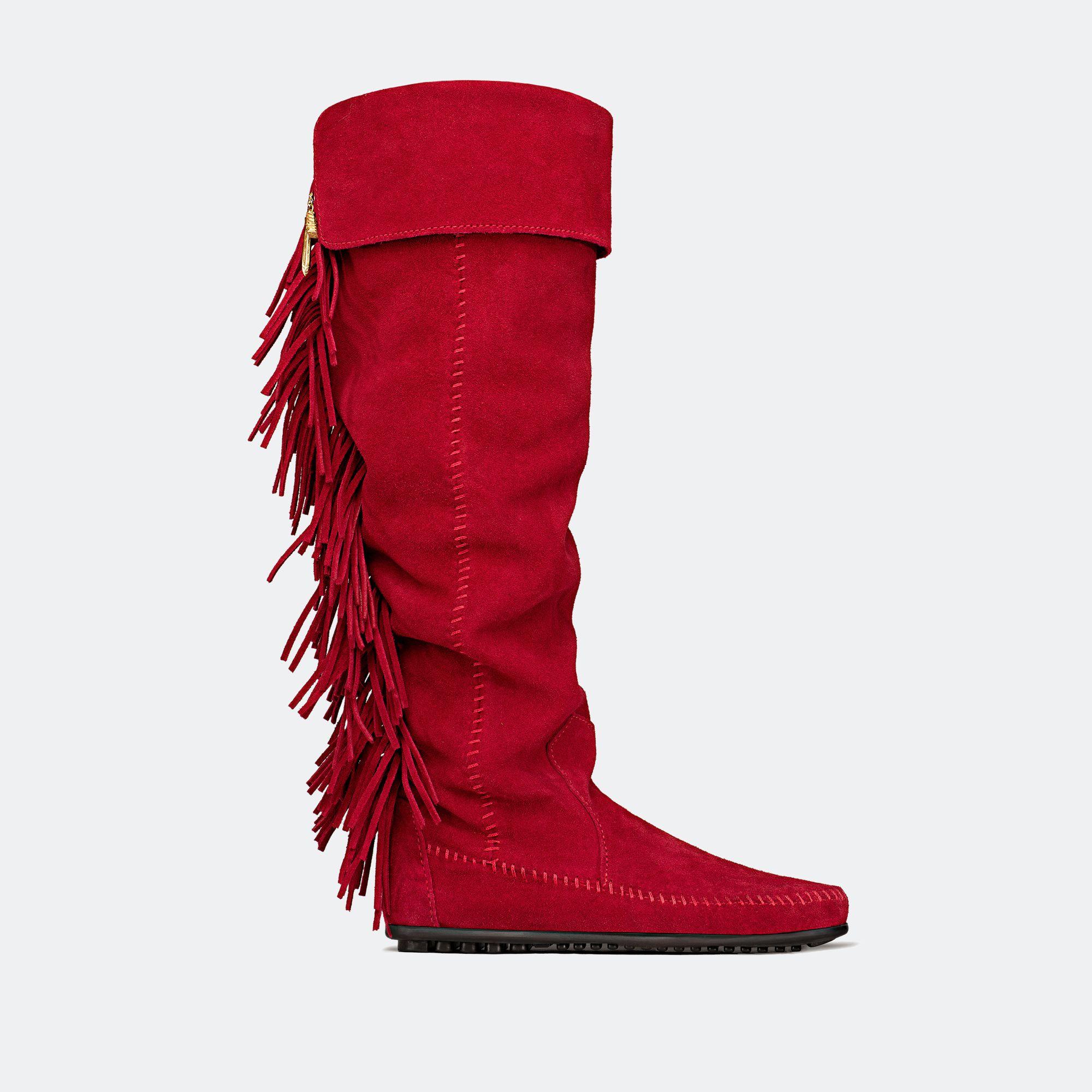 """bottes cuissardes ROUGES à franges """"TOTEM"""" minnetonka X Maje 269€ - AVIS aux porteuses de """"GROS MOLLETS"""" comme moi : elles me VONT !!! les doigts dans le nez ! et sont SUBLIMES !!!!!!!!!!!!"""