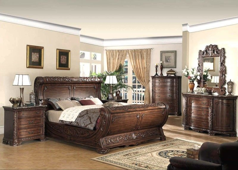 Bedroom Set With Armoire. SENSATIONAL DARK CHERRY INTRICATELY CARVED KING SLEIGH BED BEDROOM FURNITURE The Games Factory 2  Bed furniture Exceed and Led lamp