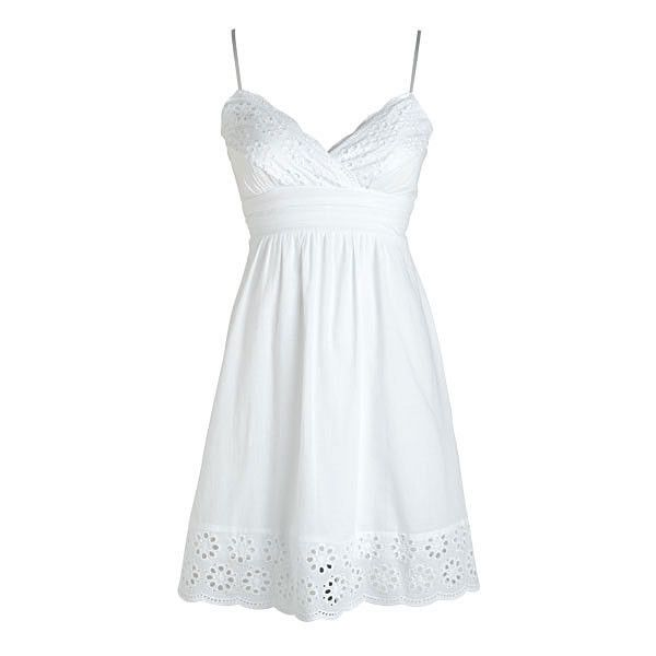 Strappy Border Eyelet Dress (45 CAD) ❤ liked on Polyvore featuring dresses, vestidos, short dresses, tops, view all dresses, mini dress, scallop trim dress, border print dress and sleeveless dress
