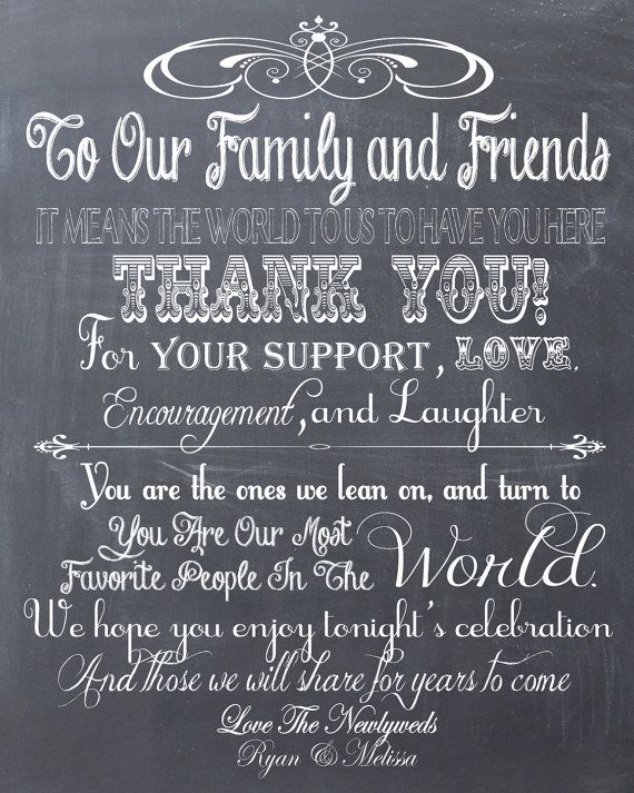 Personalized Chalkboard Wedding Thank You Guest Book Or Reception Sign PDF File On Etsy