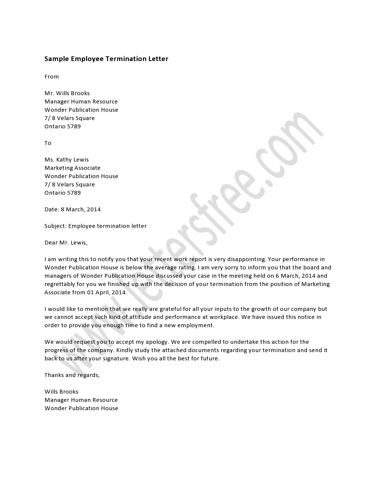 sample termination of services letter employee termination letter – Job Termination Letter