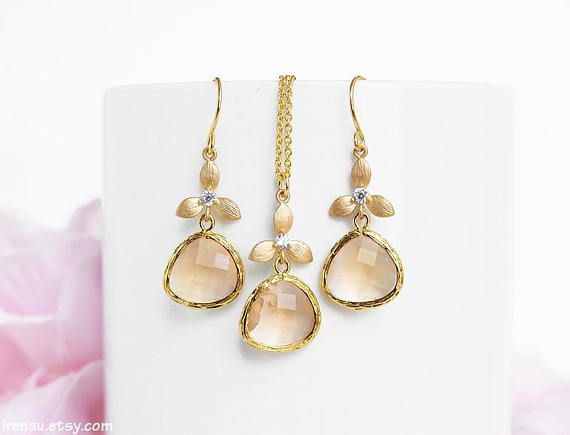 gold light druzy edge oval peach hook earrings