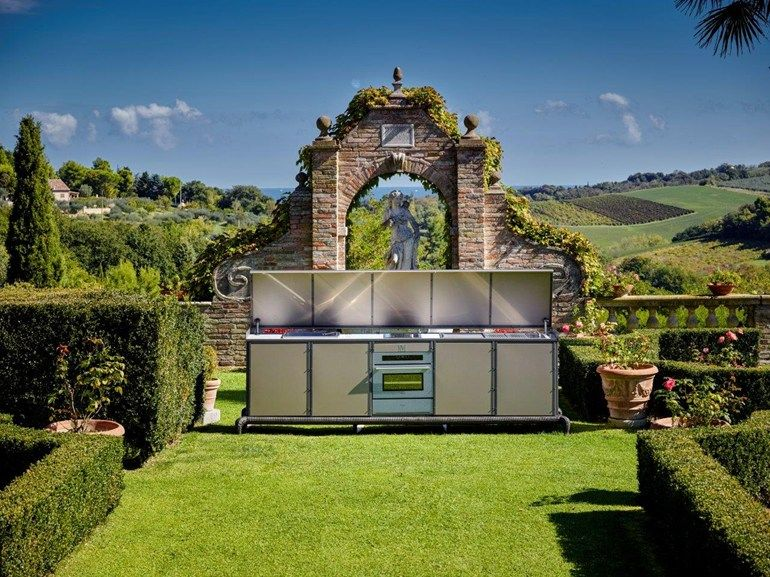 Cucina da esterno con barbecue by Samuele Mazza Outdoor Collection ...