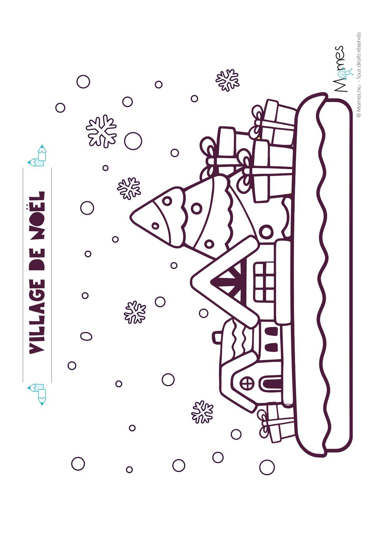 Coloriage de Noël : le village (avec images) | Coloriage noel
