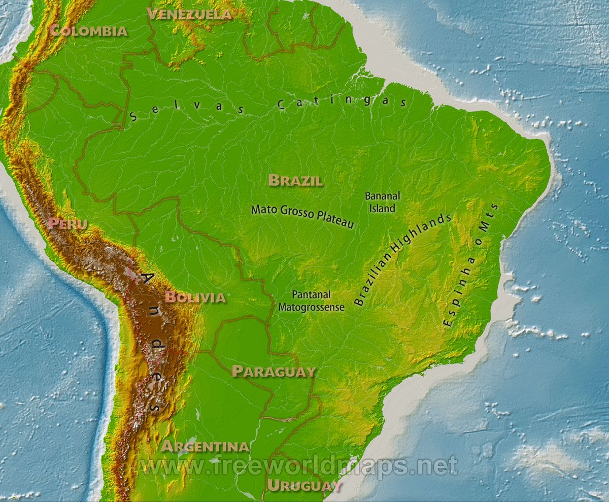 Geographical Map Of Latin America