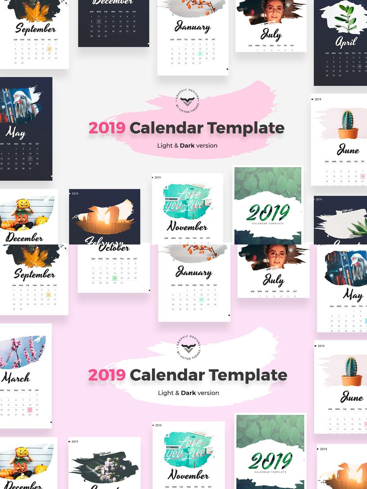 2019 Calendar Light & Dark Version (With images) Light