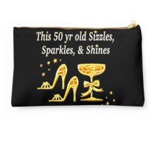 Studio Pouch http://www.redbubble.com/people/jlporiginals/works/15451353-gorgeous-gold-50th-birthday-party-girl?c=370882-50th-birthday #50thbirthday #50yearsold #Happy50thbirthday #50thbirthdaygift #50andfabulous #turning50  #happy50th