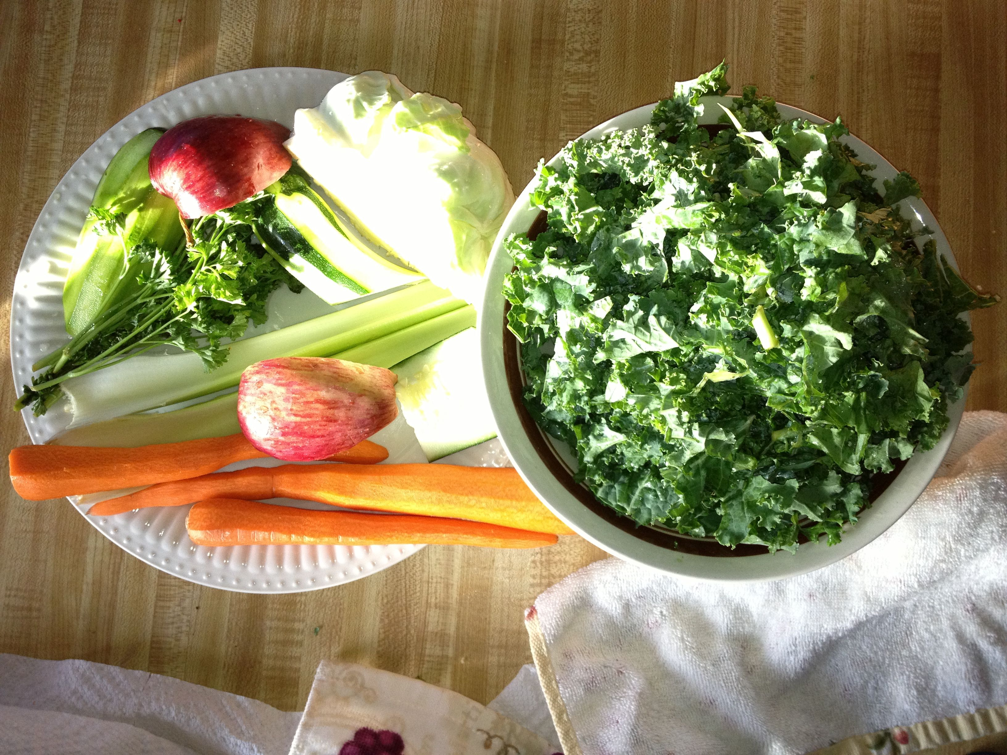 Ingredients for My first veggie juice made