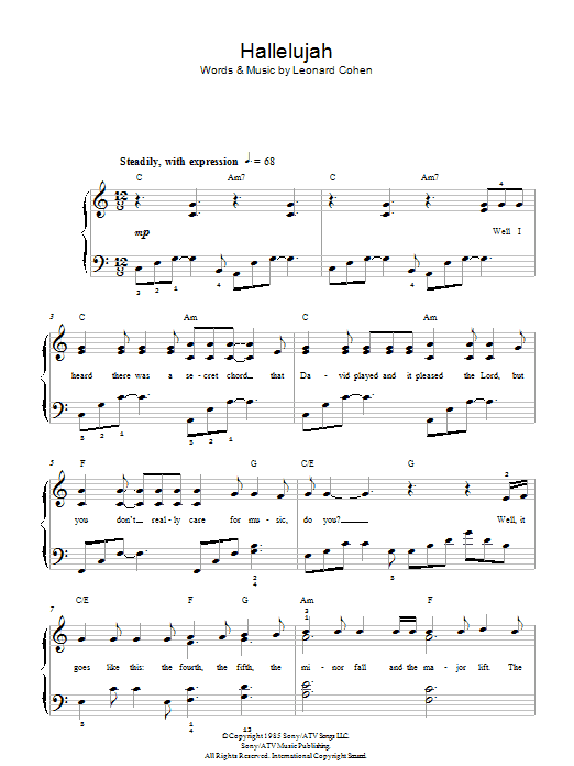 Famous Hallelujah Leonard Cohen Chords Piano Mold Song Chords