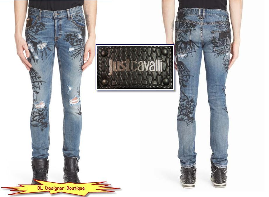 JUST CAVALLI Tropical Ink Distress Blow-out Knee Skinny Jeans NEW NWT $465…